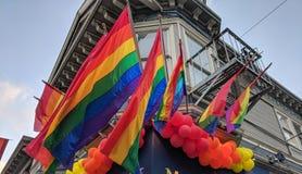 Castro District Rainbow Colored Flag, San Francisco, California imagen de archivo