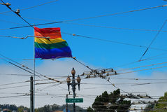Castro, gay San Francisco. The gay rainbow flag in Castro, San Francisco, California, USA stock photo