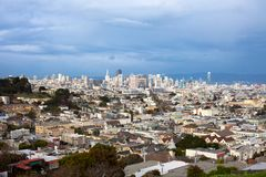 Castro Neighborhood with downtown skyline of San Francisco Stock Image