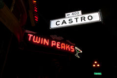 Castro Street Neon. The neon sign at the Twin Peaks bar lights up Castro Street in San Francisco Royalty Free Stock Photography