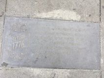 Castro Street Timeline Marker, before 1776. Although San Francisco as a city goes back to 1776, California statehood is only 1850. The Castro District likewise royalty free stock photo