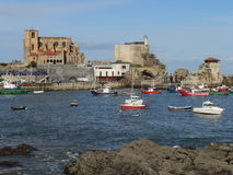 Castro Urdiales, Cantabria ( Spain ). Harbour of Castro Urdiales an autumn sunny day, Cantabria (Spain Royalty Free Stock Photo