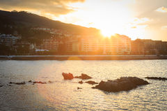Castro Urdiales at sunset, Cantabria Stock Images