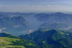 Castro village and Iseo lake aerial, Italy Royalty Free Stock Photography