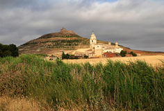 Castrojeriz. Castle ruins, church and town Castrojeriz in the northern Spain Royalty Free Stock Image