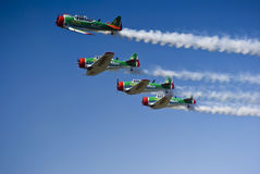 Castrol Flying Lions Harvard Aerobatic Team. The Castrol Flying Lions Harvard aerobatic team, treat spectators to a marvelous display of formation flying Stock Images