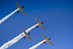 Castrol Flying Lions Harvard Aerobatic Team. The Castrol Flying Lions Harvard aerobatic team, treat spectators to a marvelous display of formation flying Royalty Free Stock Images