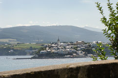 Castropol, Asturias, Spain. Picture taken from Ribadeo on the other side of the river Stock Images
