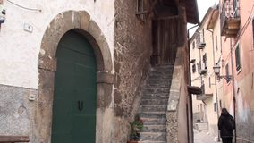Castrovalva small town in the province of the eagle, Abruzzo Italy. Ancient village of the small town of Castrovalva, in the Abruzzo central and southern Italy stock footage