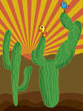Cactus Retro Cartoon bird. Illustration cactus retro background cartoon birds standing Stock Photography