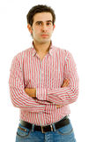 Casual. Young casual pensive man portrait, isolated on white Royalty Free Stock Images