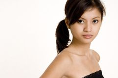 Casual 6. A cute asian female in casual clothes on white background Stock Photos