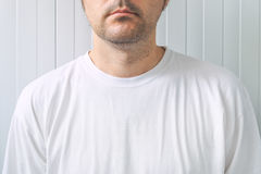 Casual adult male wearing blank white t-shirt Stock Photo