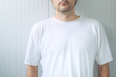 Casual adult male wearing blank white t-shirt Royalty Free Stock Photo