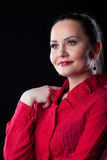 Casual adult woman in red suit Royalty Free Stock Image