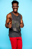 Casual african male showing double thumbs up Royalty Free Stock Image