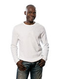 Casual afro American man standing hands pocket Stock Photography