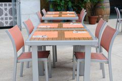 Casual alfresco dining area Stock Images
