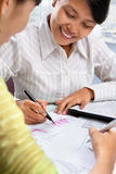 Casual Asian businesswoman working Stock Photo