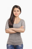 Casual Asian girl portrait. Beautiful  woman looking ahead. Royalty Free Stock Photo