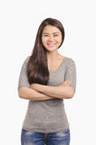 Casual Asian girl smiling portrait. Beautiful  woman smiling. Stock Photography