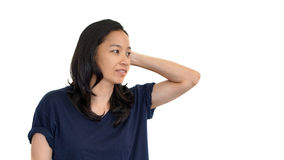 Casual asian girl white background smiling face with relax tee s Stock Image