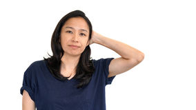 Casual asian girl white background smiling face with relax tee s Royalty Free Stock Images