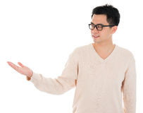 Casual Asian man hand showing something Stock Photo