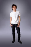 Casual Asian man in white shirt Royalty Free Stock Photos