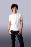 Casual Asian man in white shirt Royalty Free Stock Images