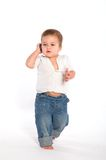 Casual baby with phone Stock Photography