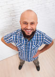 Casual Bearded Business Man Smiling Folded Hands Top View Stock Photo