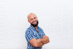 Casual Bearded Man Smiling Folded Hands Stock Photography