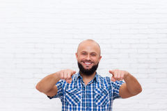 Casual Bearded Man Smiling Point Fingers At You Stock Photos