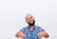 Casual Bearded Man Thumb Up Hand Gesture Smiling Stock Photo