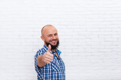Casual Bearded Man Thumb Up Hand Gesture Smiling Stock Photography