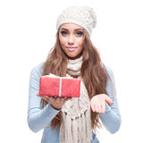 Casual beautiful girl holding gift Stock Image