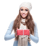 Casual beautiful girl holding gift Stock Photography