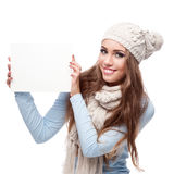 Casual beautiful girl holding sign Stock Photos