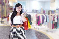 Casual beautiful woman with shopping bags Stock Images