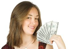 Casual beauty with dollars on her hand Royalty Free Stock Photo