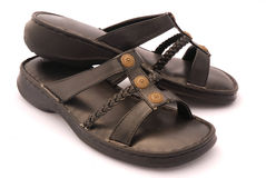 Casual Black Leather Sandals Royalty Free Stock Images