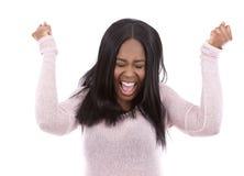 Casual black woman screaming Stock Image