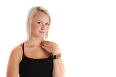 Casual Blond. A beautiful blond, copyspace on the right Stock Images