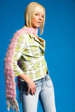 Casual blonde girl with fashionable clothing royalty free stock photo