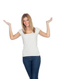 Casual blonde girl with her ​​hands raised Stock Photography