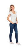 Casual blonde girl with jeans Royalty Free Stock Photo