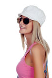 Casual blonde girl with sunglasses Stock Photos