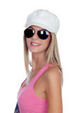 Casual blonde girl with sunglasses Royalty Free Stock Image
