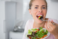 Casual blonde posing while eating salad Stock Photos